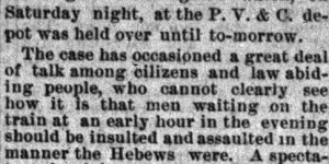"""May 4:  Hearing in the case of """"the Hebrew, George Birshairs"""" who was attacked while waiting for an early  morning train"""