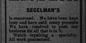And two days before the end of the year, Segelman's ran their New Year's ad as well.