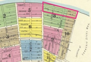 The pink rectangle at the top-right of the map shows the land Carnegie purchased to expand its mill.