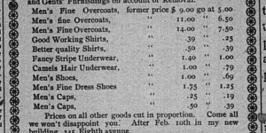 This ad for I.S. Grossman's removal sale ran for the last week of January.