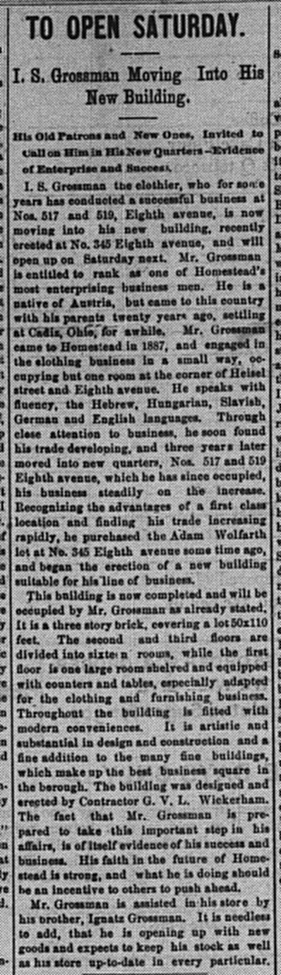 February 10: This front-page article about the relocation of I.S. Grossman's stores gives many interesting biographical details about him