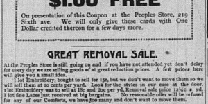This ad for Lasdusky's removal sale ran for the first week of March -- with the same typo all three times!