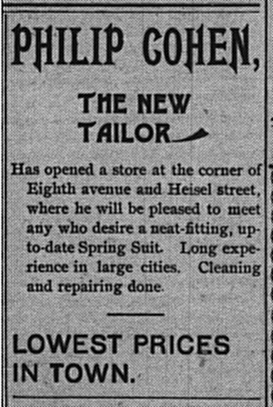 May 8: Advertisement for Philip Cohen, the new tailor