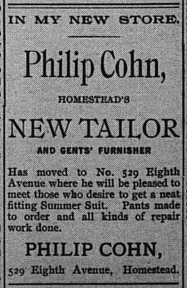 May 19: Ad for Philip Cohn, Homestead's new tailor and gents' furnisher