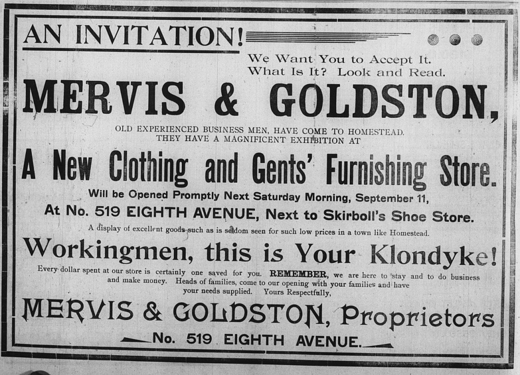 September 8: Mervis & Goldston took out a giant ad spanning the full width of the newspaper page to introduce their store