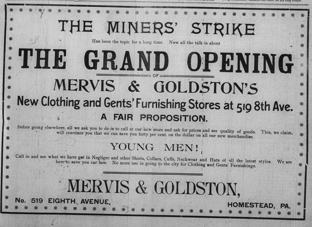 September 11: Mervis & Goldston took out another half-page ad to announce the grand opening of their store