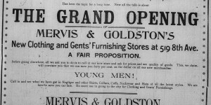 September 11, 1897:  Mervis & Goldston took out their second half-page ad to announce the grand opening of their store.