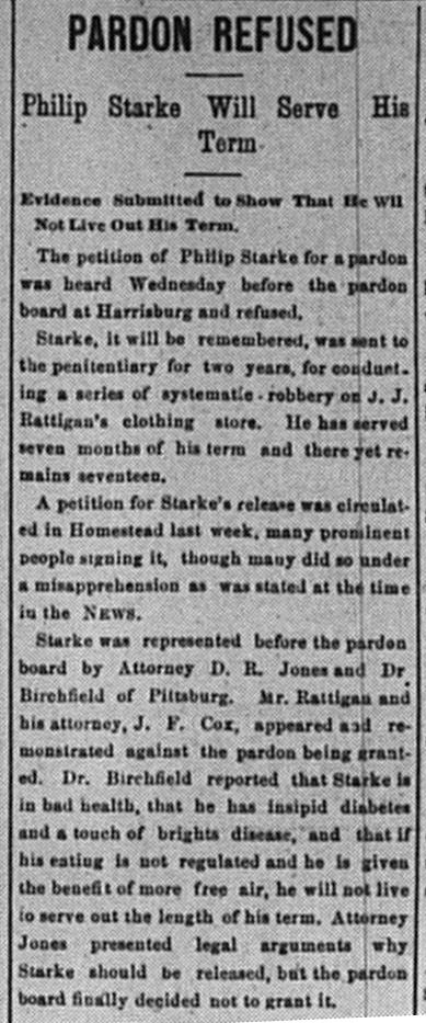 September 18: Pardon Refused. Philip Starke Will Serve His Term