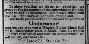 About a month after their opening, on October 23 Mervis & Goldston ran this ad advertising their wares.