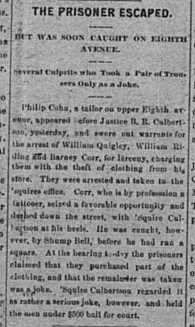 November 2: Philip Cohn had three men arrested for stealing clothing from his store
