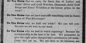 """This ad for Segelman's jewelry store on the front page of the paper for the last two weeks of November.  It was introduced with a text ad, """"Mrs. Segelman tells why she holds her trade in the jewelry line, in another column.  See her ad."""""""