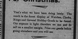 Starting after Thanksgiving  Segelman's updated their ad for the holiday season.  This is one of the few ads that mentions that the store is run by the widow of the original proprietor.