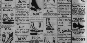 December 20-23:  The Xmas ad for Skirboll's shoe store took up almost the entire page the newspaper!