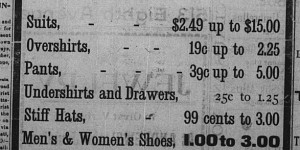 """December 20-23:  Another pre-Xmas ad for I. Grossman's new store.  It was accompanied by a text ad, """"Isadore Grossman of 345 Eighth avenue, makes a special offer of pants at 39 cents each."""""""