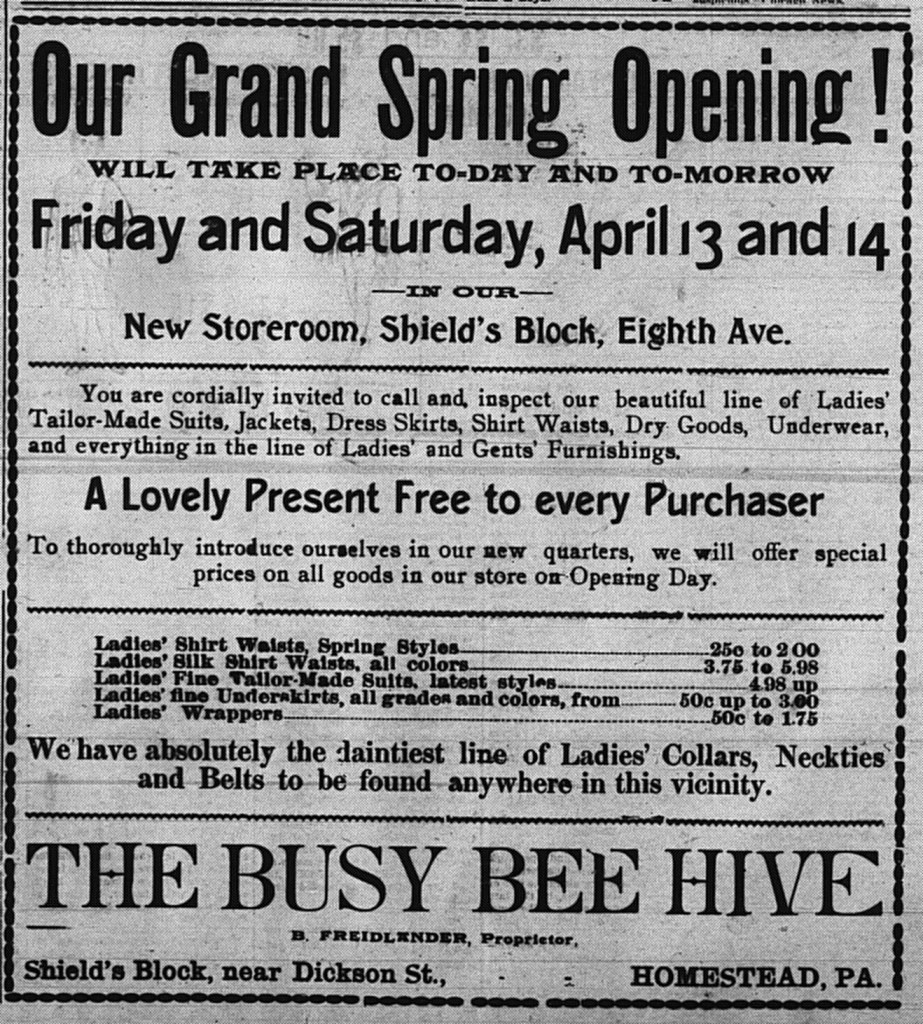 4/13/1900: Ad announcing the reopening of Friedlander's store in its new location.