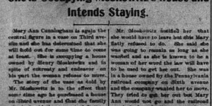 11/11/1902:  Moskowitz's renter wouldn't leave