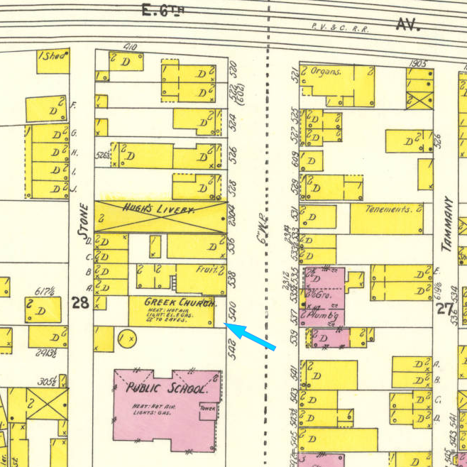 Map of Homestead showing HHCRS, Feb 1907. (No idea why it is listed as a Greek Church?!)