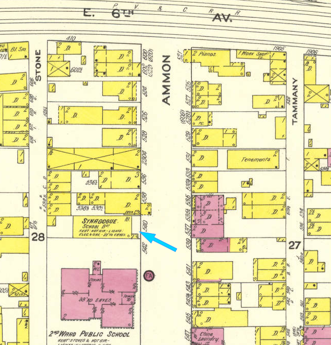 July 1913 map of HHCRS. Though this is two years past the fire, the site is still listed as a synagogue. (Another section of this map shows that the new 10th Ave synagogue is not yet built at this time.) I wonder if they were able to continue to use the building -- or part of it -- during almost four years from the Feb. 1911 fire and the Sep. 1914 dedication of the new building?