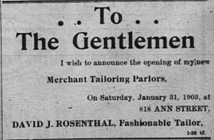 1/31/1903:  Ad for new merchant tailor David J. Rosenthal