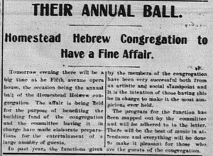 2/9/1903: This article announced that the Hebrews' annual ball would take place the next day.