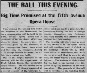 2/10/1903: This article described the program for the ball that would take place that evening.