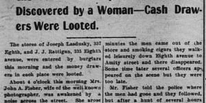 10/2/1903:  Robbery of Lasdusky's store.