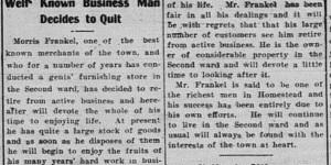 10/7/1903:  Morris Frankel is retiring?!