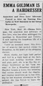 9/25: Emma Goldman... a hairdresser?!