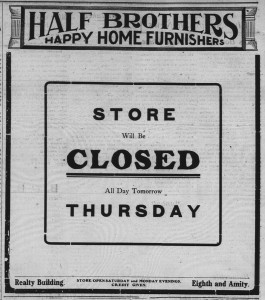 9/19/1906: This Half Bros. ad shows that they were closed the first day of Rosh Hashana.