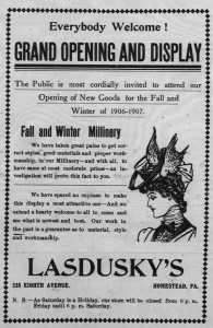 9/25/1906: Once again Lasdusky's millinery opening overlapped with the High Holidays.
