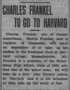 9/1: Charles Frankel to go to Harvard