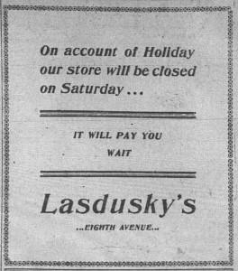 9/25: Lasdusky ad published erev Rosh Hashana
