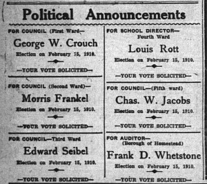 1/26: Frankel's ad for the main election