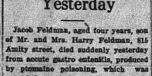2/18:  Stomach Poison Caused Death of Jacob Feldman Yesterday