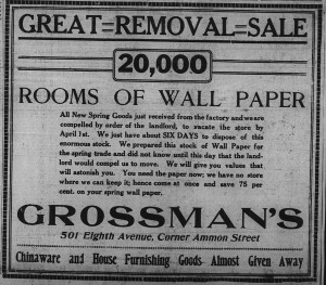 "3/27: Grossman's Great Removal Sale. ""We...did not know until this day that the landlord would compel us to move."""