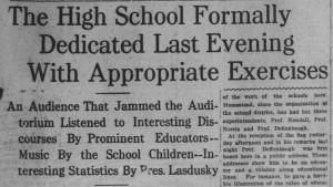 11/29: High School Dedication