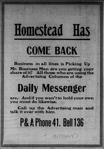 1/28/1913: Newspaper ad reflecting the better economic conditions
