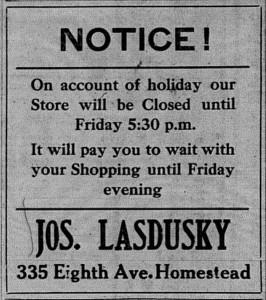 10/1: Erev Rosh Hashana ad for Lasdusky's store