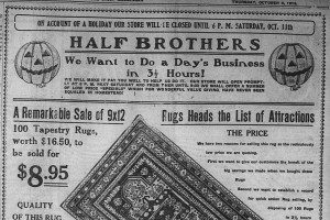 10/9: Although their store had to be closed during the day, the Half Brothers store was determined to get at least some of the payday business in the evening.