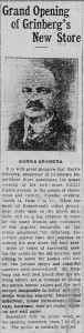 3/13/1916: Grand Opening of Grinberg's New Store