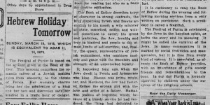 3/18/1916:  Hebrew Holiday Tomorrow