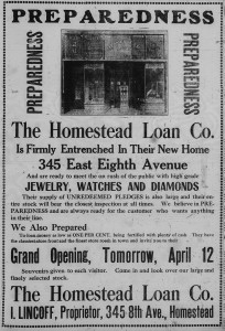 4/11/1916: The Homestead Loan Co., I. Lincoff, proprietor
