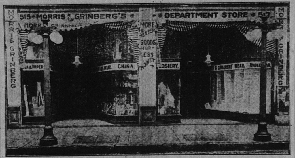 "5/25/1916: Picture of Morris Grinberg's store from a full-page ad for his ""Great May Trade Sale"""