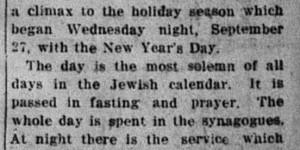 10/4/1916:  Yom Kippur Comes