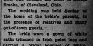 12/12/1916:  Elaborate Home Wedding