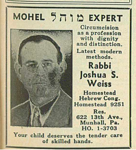 Advertisement for Rabbi Weiss in the Jewish Criterion.