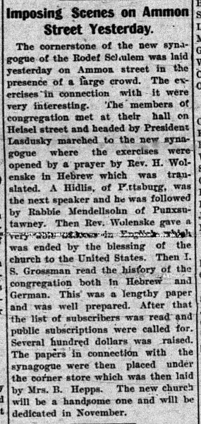 Cornerstone-laying, The News-Messenger, 8/19/1901