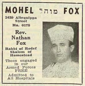 Advertisement for Nathan Fox (Jewish Criterion, 9/15/1944)