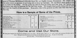 This ad for the Grinberg Brothers store ran in the Homestead paper 5/26-5/28/1898.
