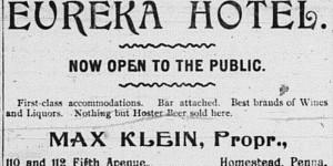 September 8:  Ad for Max Klein's Eureka Hotel!
